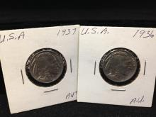 Lot of (2)  Buffalo Nickels 1936 and 1937 Higher Grade