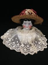 1890s Porcelain Doll Head w/ Hand Made Hat