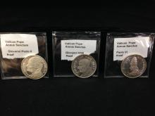 Collection of (3) Different Pope Silver Proof Coins