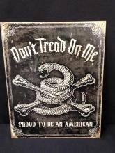 American Iron Metal Tin Sign Wall Art. DON'T TREAD ON ME.