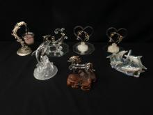 Lot (6) Vintage Glass & Gold Trim Dolphin Statues.