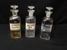 Lot (3) Vintage Whitall Tatum Apothecary Bottles