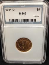 1911 D $5 Indian Gold Coin Key Date Alert!!!
