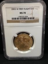 2003 W First Flight $10 Gold Coin MS 70