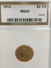 1914 $2.50 Indian Gold Coin MS 65 by NGC