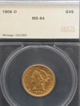 1906 D $5 Lady Liberty Gold Coin MS 64 by  SEGS