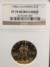 1984 S Olympics $10 Gold Coin PF 70 Ultra Cameo by NGC