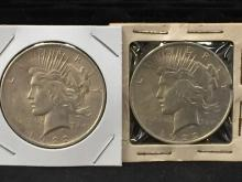 Lot of (2) 1922 Peace Silver Dollars 90% Silver