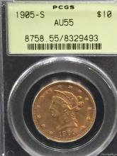 1905 S $10 Liberty Bust Gold Coin AU55