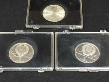 Lot of (3) Olympic Silver Coins Russia, Germany