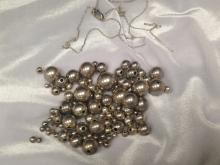 Sterling Silver Graduated Beaded Necklace.