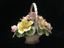 Large CAPODIMONTE Porcelain Rose Basket.