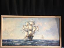 Vintage Ambrose Signed Oil On Canvas Ship Painting