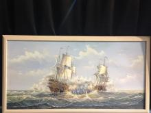 Vintage J. Harvey Ship In Battle Painting.