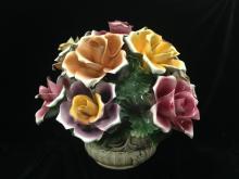 Large CAPODIMONTE Porcelain Rose Centerpiece.