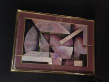 Vintage Geometric Wall Art In Purple