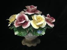 Vintage Nuova Capodimonte Porcelain Rose Urn.