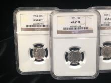 NGC MS 65 FT Dime Coin Run (5) 1960-1964