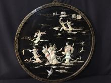 Asian Mother Of Pearl Inlay Round Wood Panel