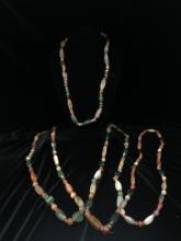 Lot (4) Vintage Natural Stone Necklaces.