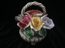Vintage CAPODIMONTE Porcelain Rose Basket.