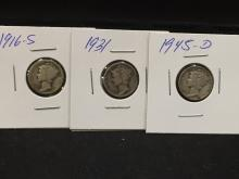 Lot of (3) Mercury Dimes 1916 S, 1931 and 1945