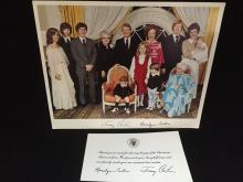 Autographed Photo and Thank You Note from Jimmy and Rosalyn Carter.