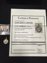 Ancient Greek Coin in 18 K Gold Custom Mounting 420-380 BC