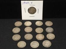 Lot of (16) Roosevelt Dimes Pre 1964 90% Silver