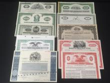 Lot (10) OLD Stock Certificates inc. Investment/Banking Companies.