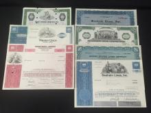 Lot (7) OLD Stock Certificates inc. Air, Train and River Companies.