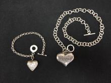 Tiffany & Co. Necklace & Bracelet Heart Set Sterling Silver