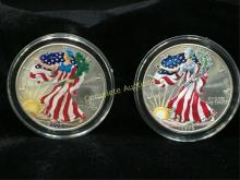 Lot of (2) Painted Silver Eagles 1999, 2000