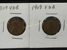 Lot of (2) 1909 VDB Lincoln Pennies