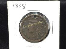 1838 Coronet Head Cent Holed