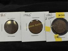 Lot of (3) 1865 Two Cent Coins