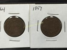 Lot of (2) Two Cent Coins 1864 and 1867