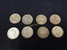 Lot of (8) British One Pound Coins