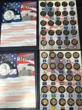1999 to 2008 Denver Mint Commemorative Quarters Gold Layered Quarters Volume I and II