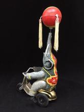 Vintage Tin Litho Wind-Up Toy. Elephant on Bicycle w/ Rotating Ball.