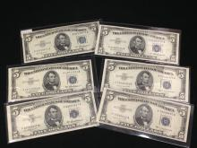 Lot of (6) $5 Silver Certificate Blue Seal Bills Crisp!