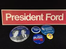 Presidential Campaign Buttons - Huckleberry Hound, Reagan, Ford & More