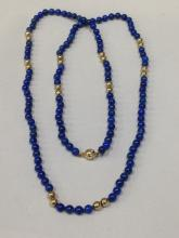 14K Gold Lapus Bead Necklace approx 17