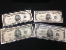 Lot of (4) $5 Silver Certificate Blue Seal Bills