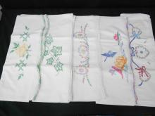Lot 5 Sets Vintage Hand Embroidered and Crocheted Pillow Cases.