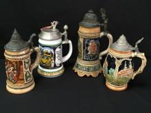 Lot (4) Vintage Lidded Porcelain/Glass/Pewter Beer Steins.