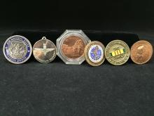 Six Military Medallions - Apollo, Paratrooper, Vietnam, Air National Guard