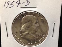 1957 D Franklin Half Dollar UNC