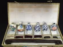 Set of Vintage Hand Painted Snuff Bottles w/Case.