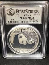 2011 China 10 YN First Strike Silver MS 70 by PCGS